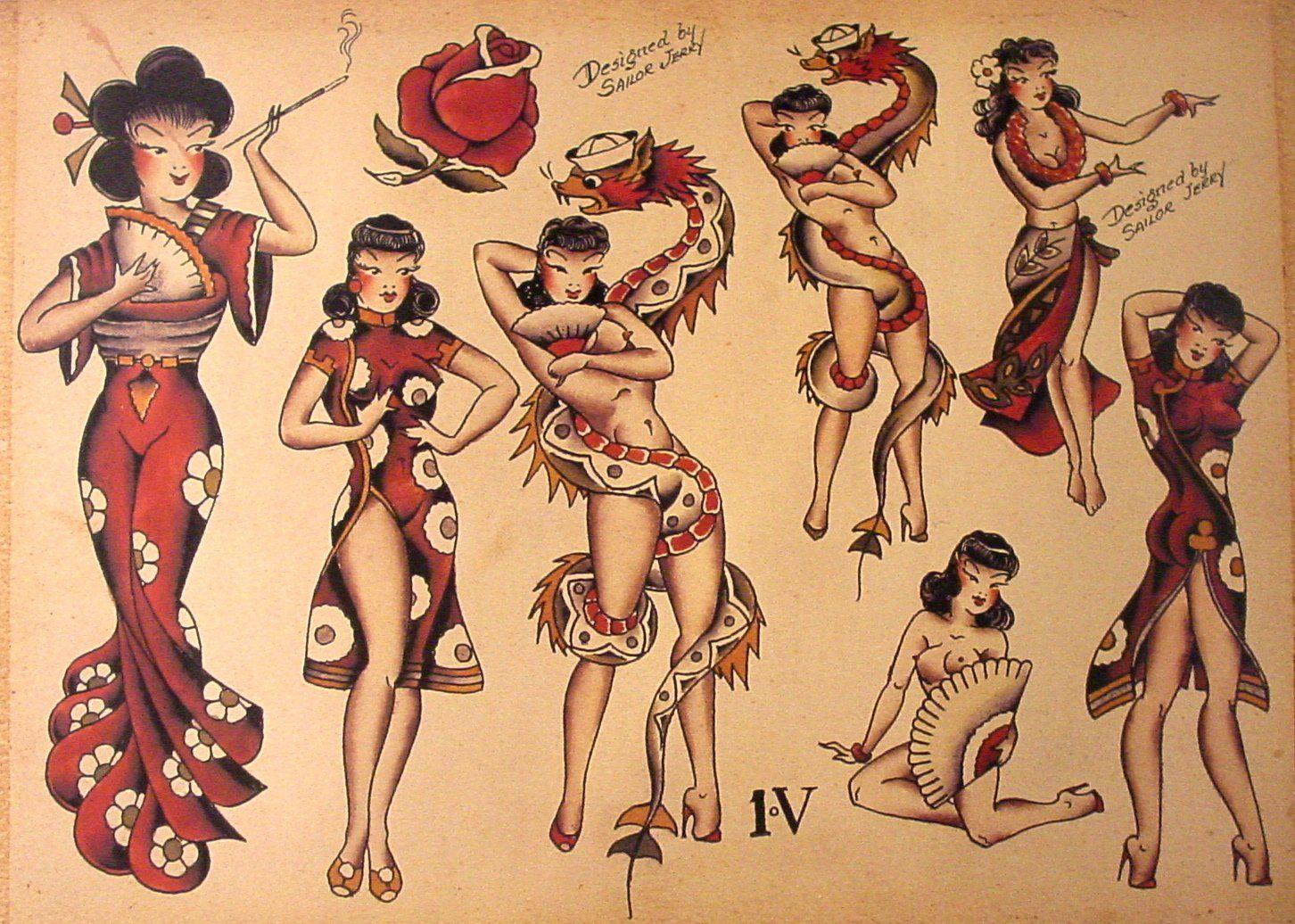 Sailor Jerry Tattoo Flash (10 Sheets): Snakes, Panthers, Geisha ...