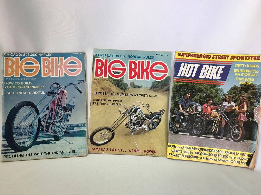 Vintage 1972 Hot Bike Magazines Hot Bike 1971 Biker Back Issues