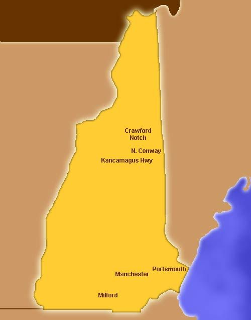 New Hampshire (NH, US) Attractions:  (Click on the map or select from the list)