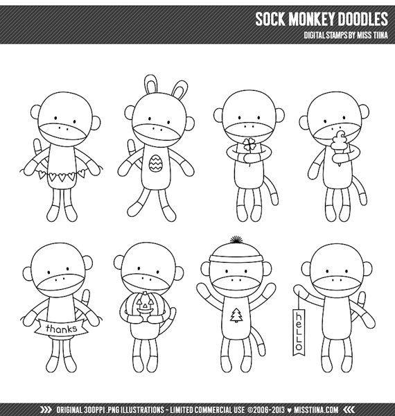 Sock Monkey Doodles Digital Stamps Clipart Clip Art Illustrations