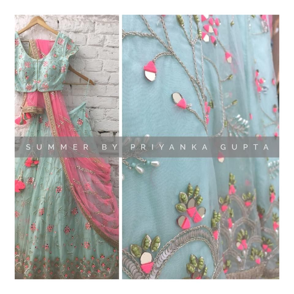 Beautiful powder blue color lehenga and blouse with blush pink net dupatta also rh pinterest