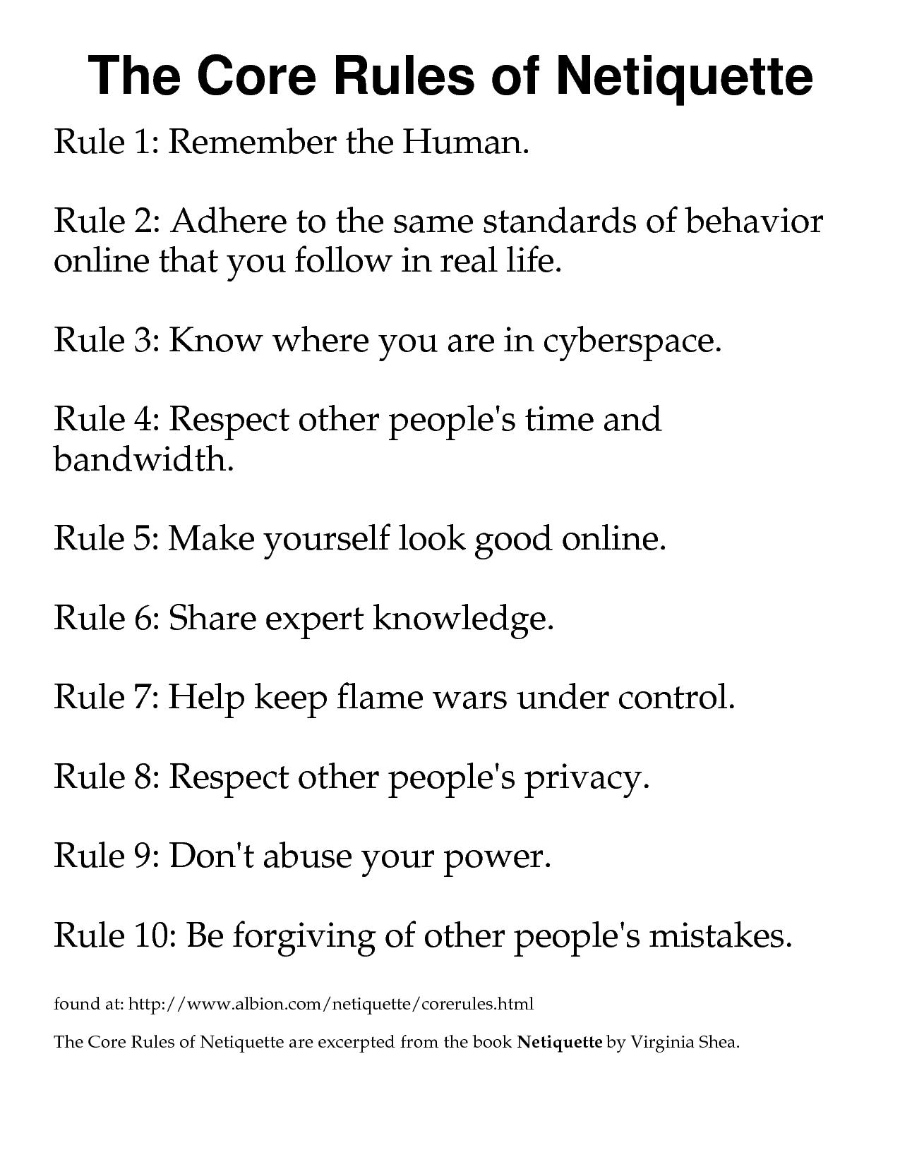 On Line Etiquette