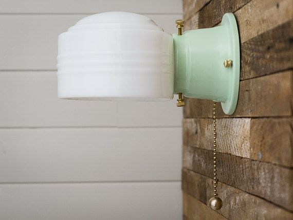 Milk Glass Bath Light: Farmhouse Vintage Rewired Jadeite Green Sconce Wall Light