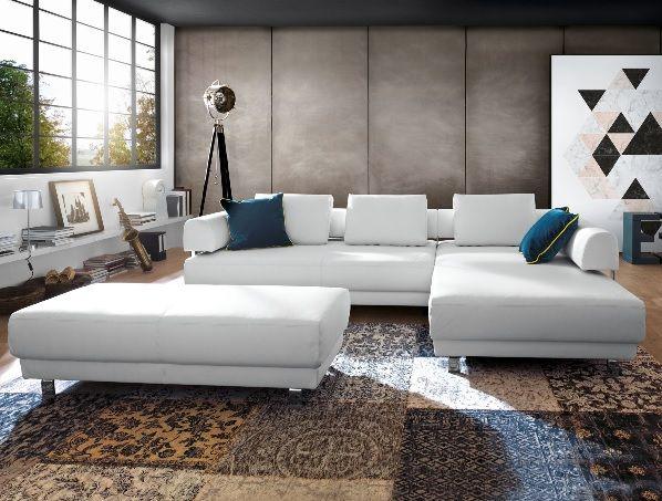 Ewald Schillig brand Polsterecke FACE Lederbezug Weiß #sofa #wohnen - Wohnzimmer In Weis Und Braun