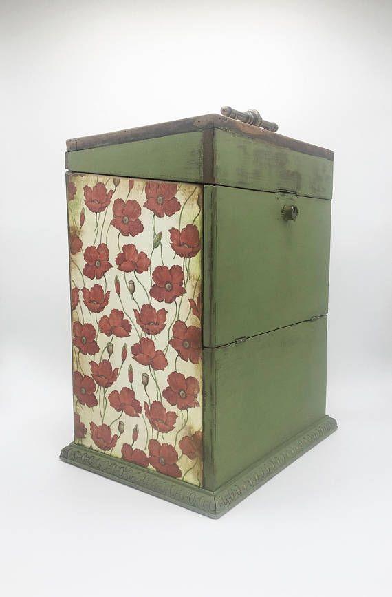 Large Wooden Box Decoupaged Antique Wood Decorative