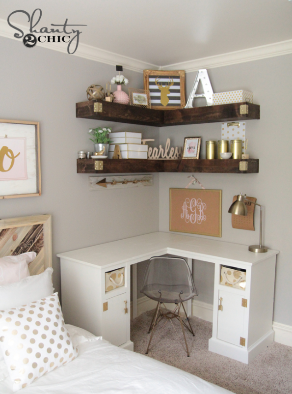 Bedroom Decorating Ideas and Inspiration   Bedroom Ideas DIY Cheap     Bedroom Ideas  DIY Cheap and Simple Floating Shelves   LOVE this idea  DIY  Floating Corner Shelves   Shanty 2 Chic