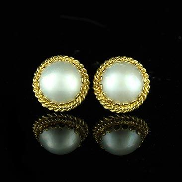 Gold Pearl Drop Earrings Stud