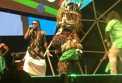 Video: Flavour brings 'Ijele' Masquerade on stage at Glo Caf Awards, view details at https://goo.gl/30c7vi