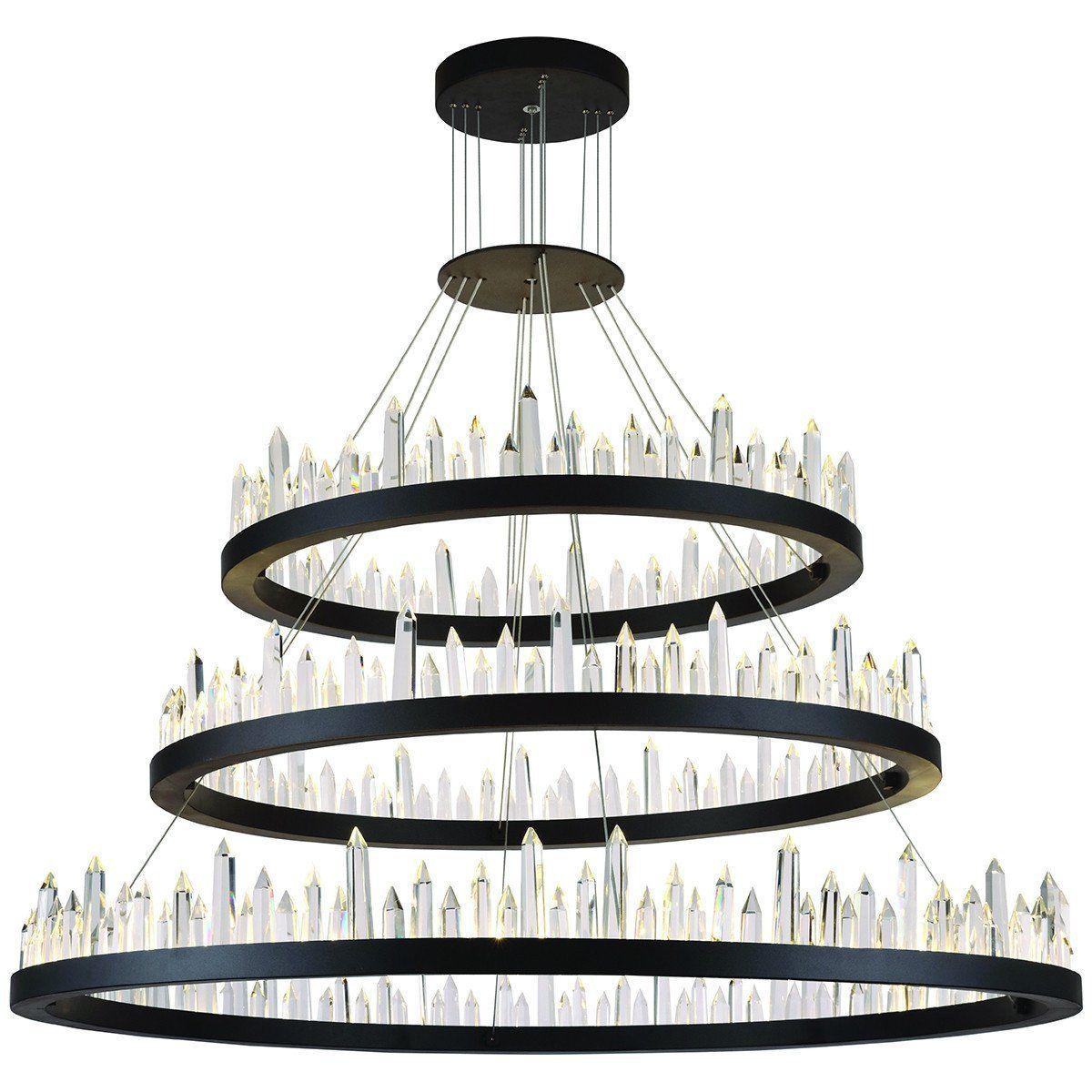Elegant Lighting Malta Hang 3 Layers Led Satin Dark Grey Chandelier Grey Chandeliers