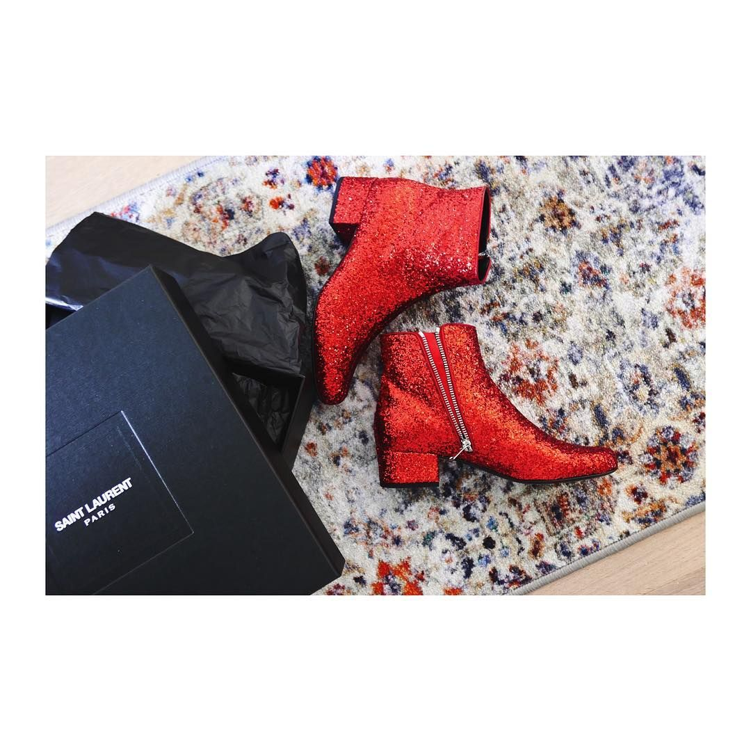 fd3f5d19fe8 YSL #boots #red #glitter | My Necessary Evil | Yves saint laurent ...