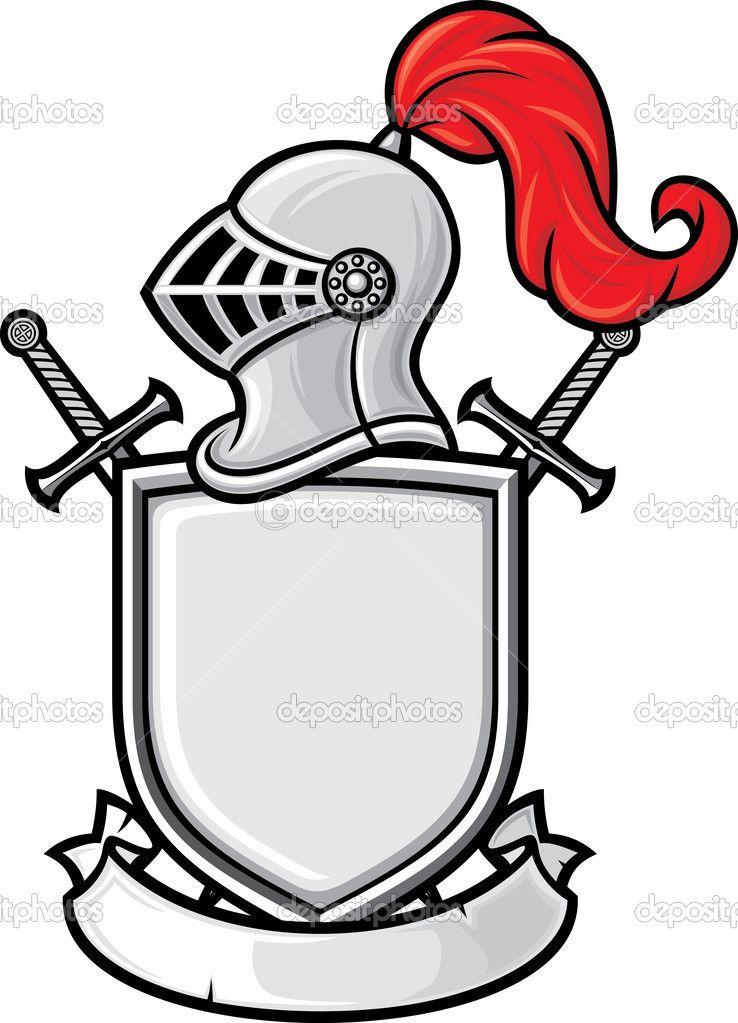 Medieval knight helmet, shield, crossed swords and banner - coat ...