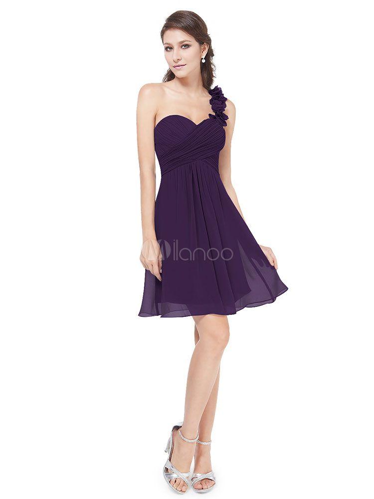 Kurze Brautjungfer Kleid Chiffon mit Reißverschluss und Herz ...