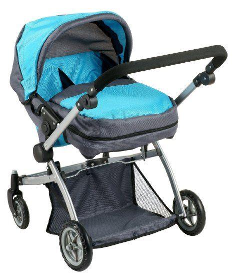 Amazon Com Deluxe Twin Doll Pram Stroller Blue Grey Toys