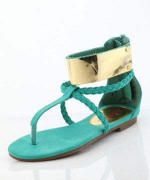 Another great find on #zulily! Emerald Gold Plate Gladiator Sandals by Bella Marie #zulilyfinds
