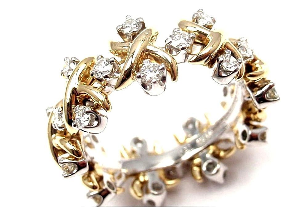 5abeb8458a946 TIFFANY & CO Schlumberger Lynn Diamond Gold & Platinum Ring/ Size 7 ...