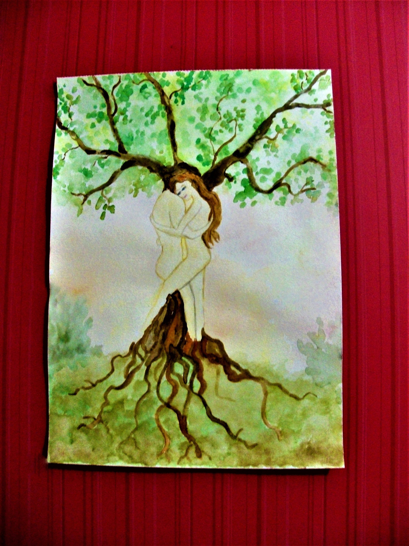 Illustration Arbre de vie,peinture arbre de vie,peinture Adam et Eve,dessin arbre de vie,Aquarelle spirituelle,Art mural paradis
