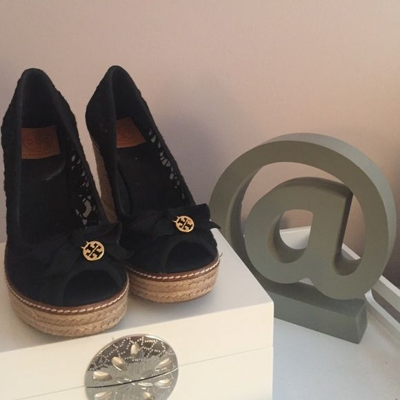 Tory burch wedge Black Tory burch lace wedge. Brand new. Tory Burch Shoes Espadrilles