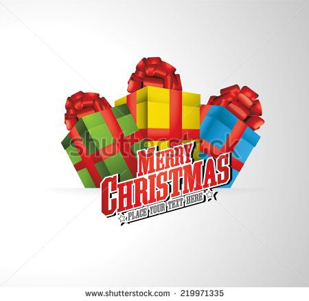 merry christmas logo illustration with present and ribbons - Merry Christmas Logos