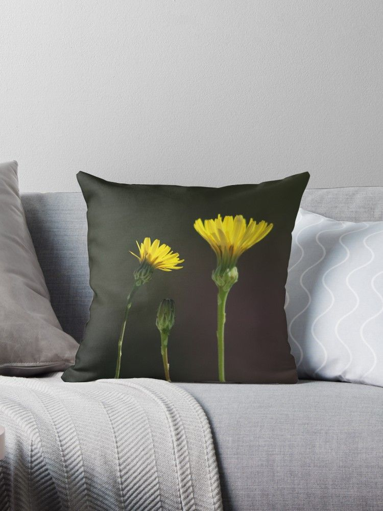 Dandelion Family Dandelions Flowers Wildflowers Yellow Flowers Blooms Blossoms Floral Bouque Family Throw Pillow Decorative Throw Pillows Throw Pillows