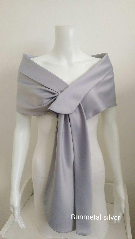 Duchess satin SILVER wedding party pull thru wrap shawl ...