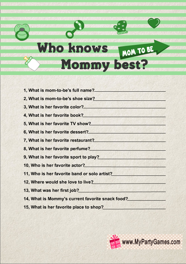 Who Knows Mommy Best Game Printable In Green Color  Girl Baby