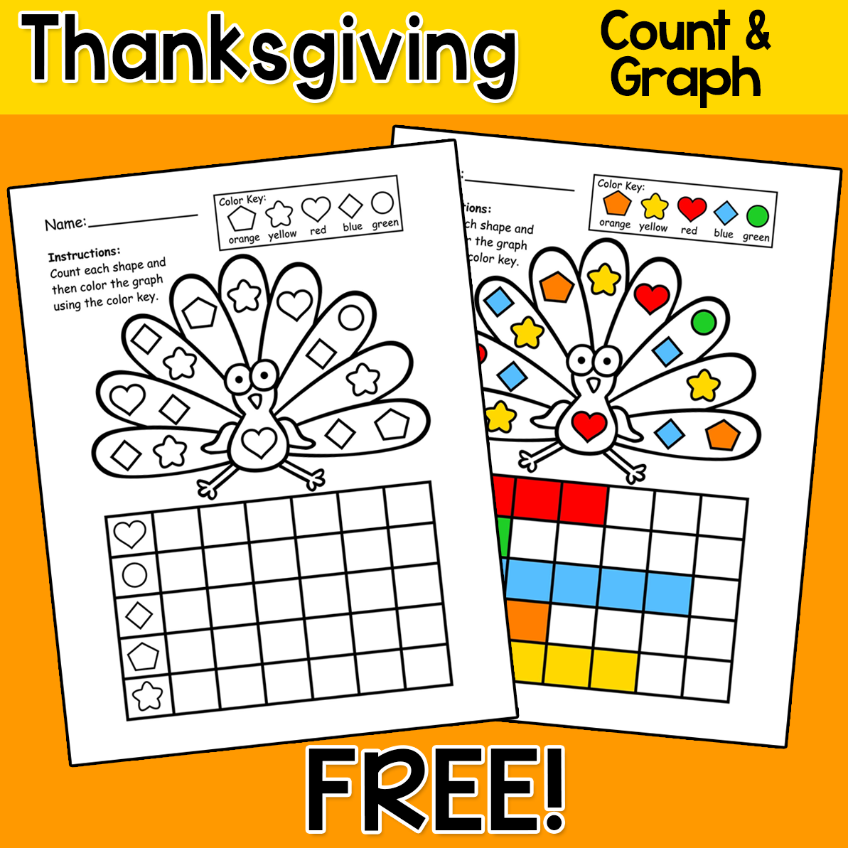 Thanksgiving Activities Color Count Amp Graph Shapes