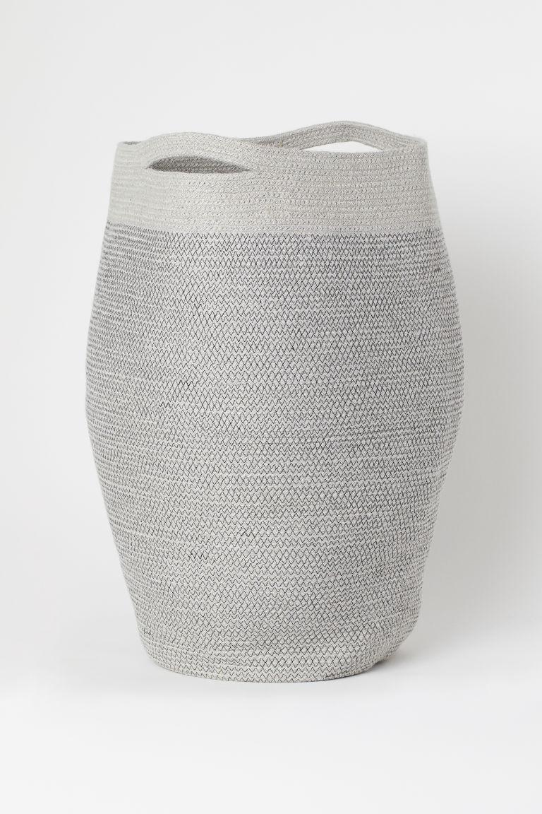 Grey Woven Laundry Hamper 62x44cm Storage Home Accessories