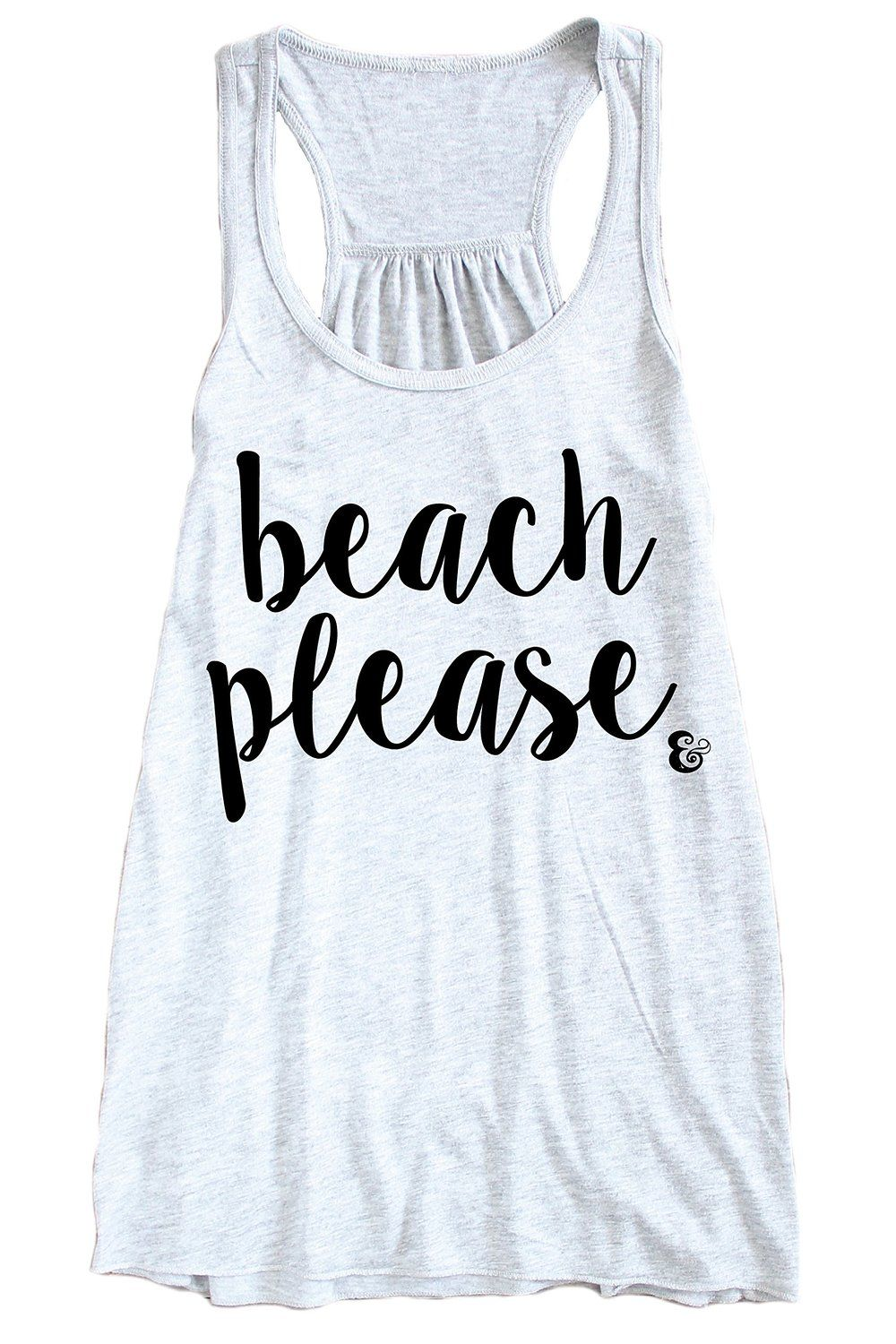 f32996ef95f64 Beach Please Racerback Tank Top Summer Tops at Amazon Women s Clothing store