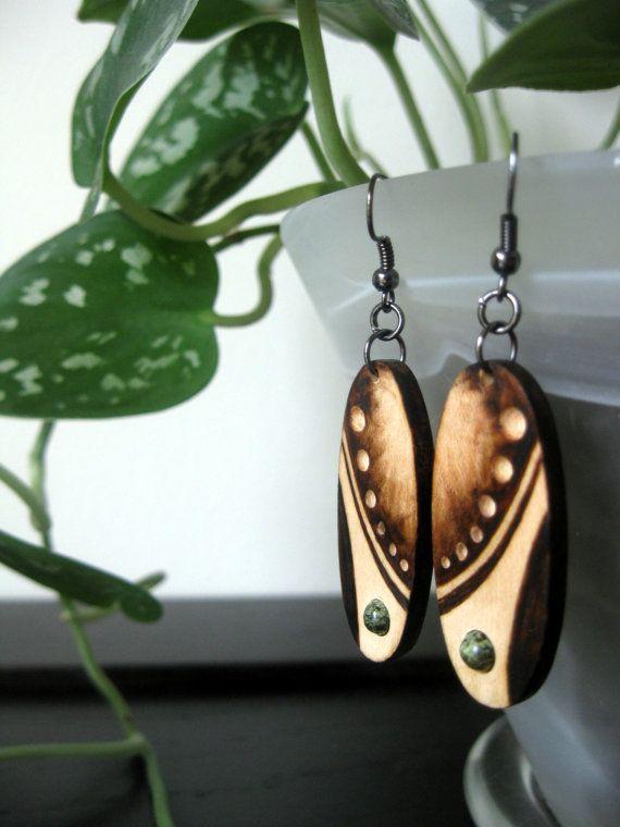 Wooden Earrings - Galactic Dream, Woodburned Earrings, Earthy, Organic, Outdoorsy, Green