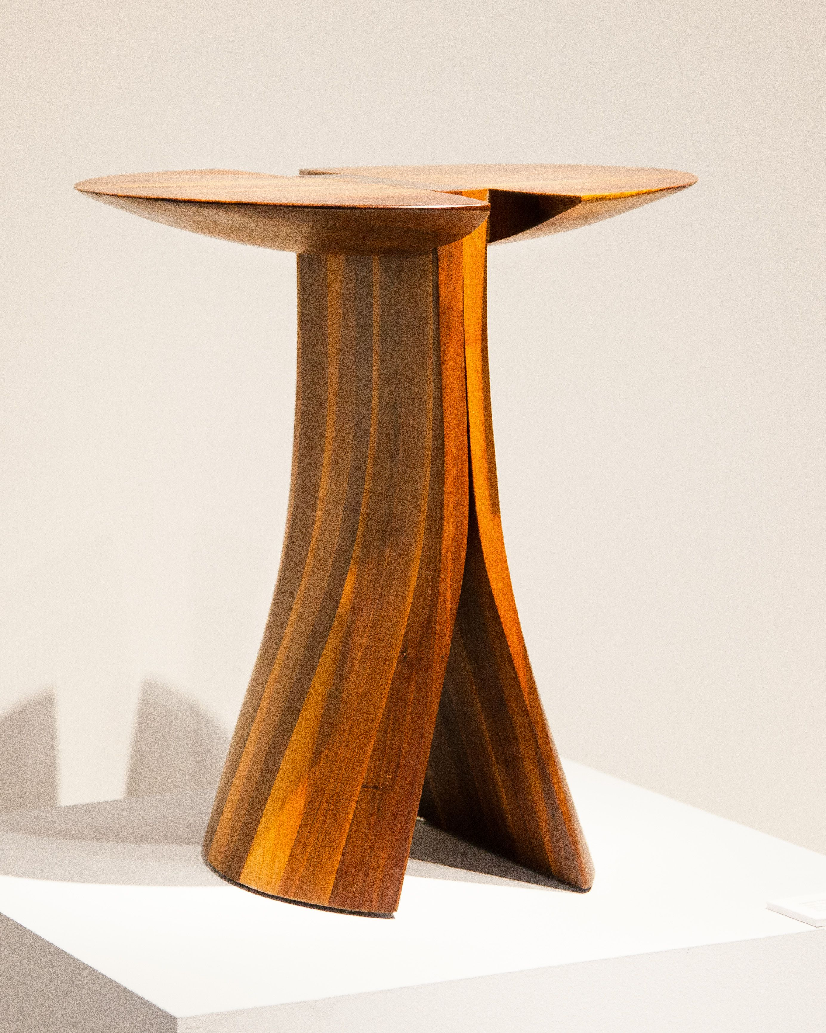 James henkle side table with bookshelf walnut and zebrawood