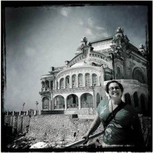 Photo courtesy Nicole Arsenault – Standing in front of the abandoned Grand Casino, Constanta, Romania