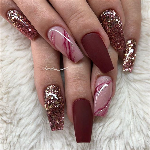 Acrylic Coffin Nails Designs In Fall Coffin Nails Designs Burgundy Nails Rose Gold Nails