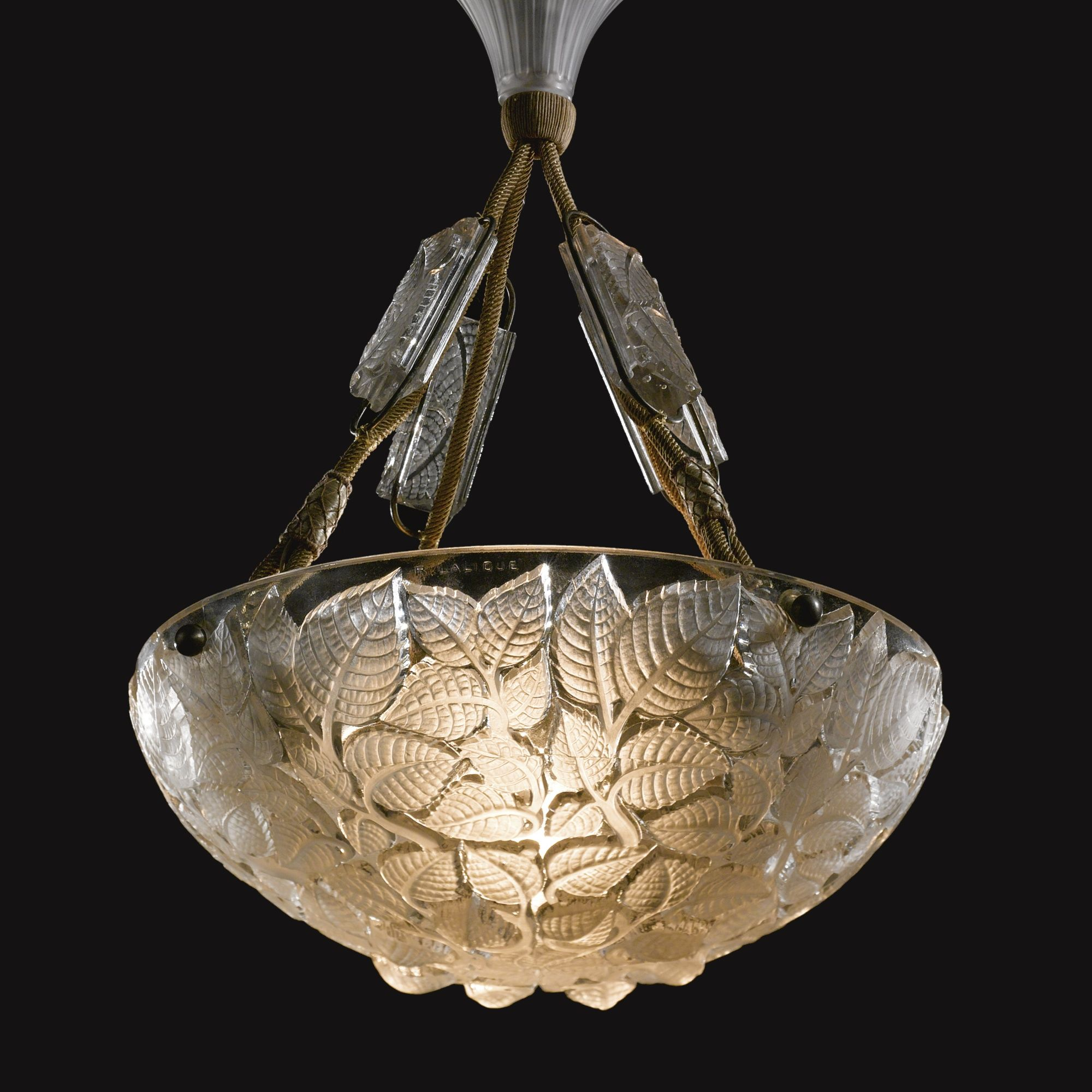"""René Lalique: """"Charmes"""" plafonnier, molded and frosted glass and silk rope. Model introduced 1924"""