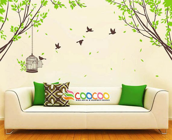 Tree Wall Decal Branches Birds Nursery Vinyl Wall Sticker Tree And