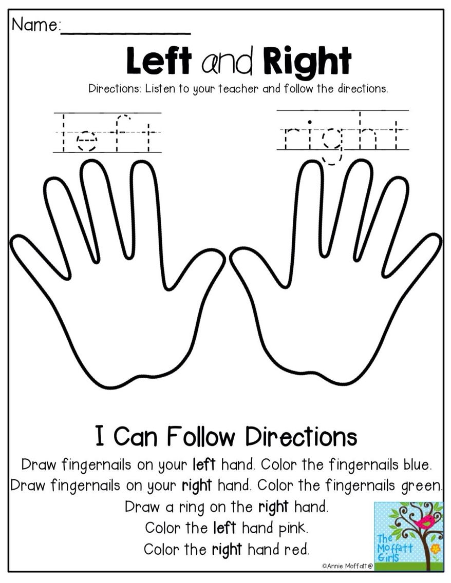 Workbooks left right worksheets : English for kids | English for kids | Pinterest | English ...