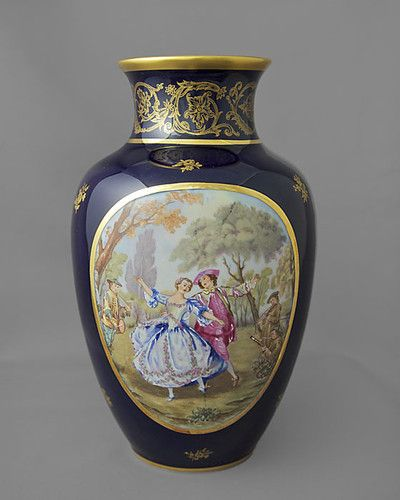 Pastaud Limoge Vase Cobalt Blue Gold Frgonard Design 85 Tall