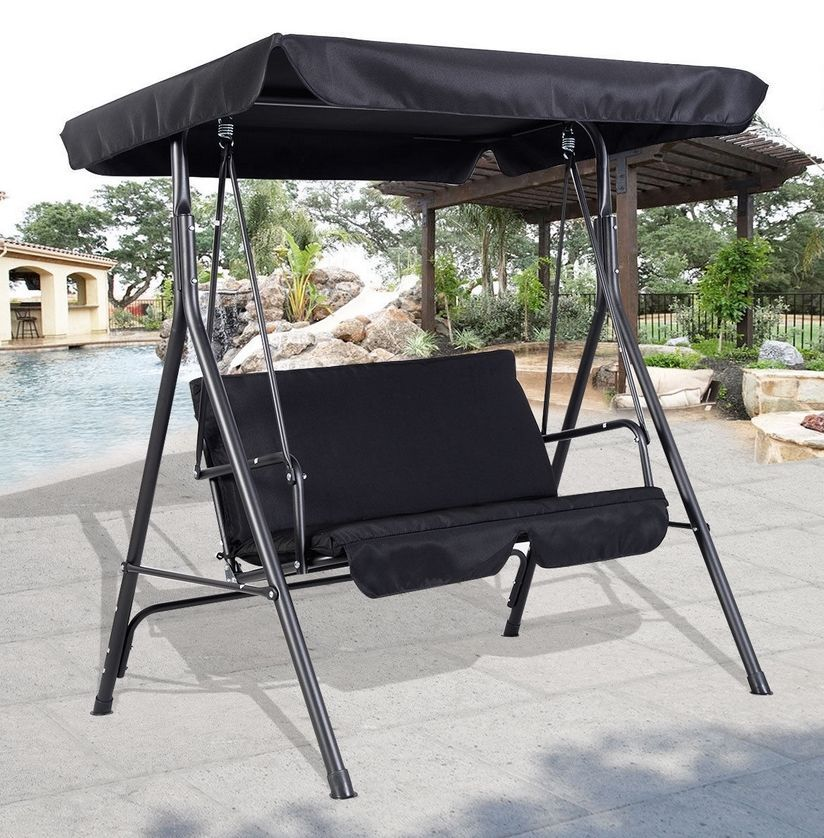 2 seater metal swing hammock chair bench lounger canopy cushioned patio black 2 seater metal swing hammock chair bench lounger canopy cushioned      rh   pinterest