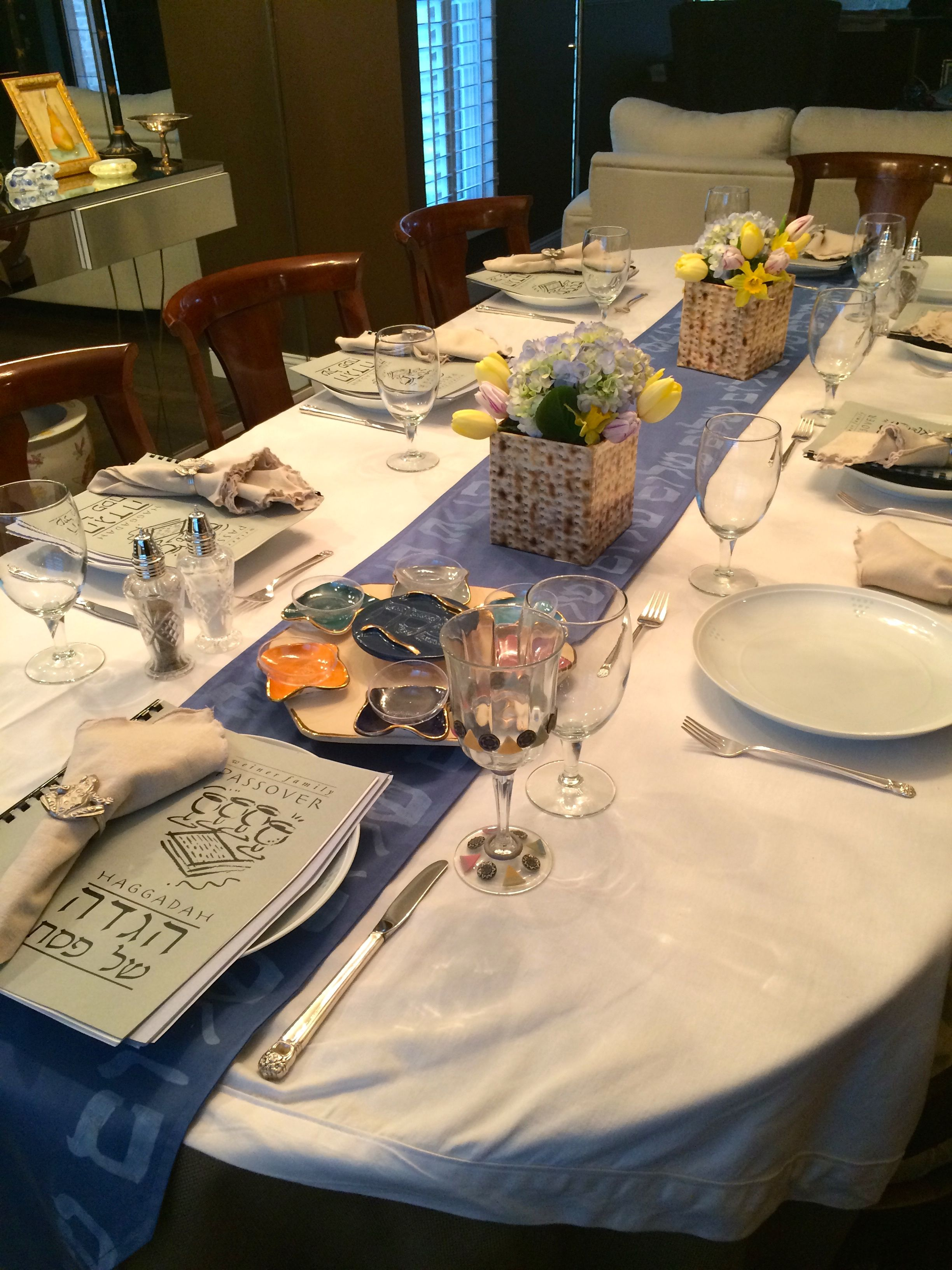 Passover Seder setup with shalom table runner and yes matzah vases! & DRESDEN table runner with ???? (shalom) stenciled on denim blue ...