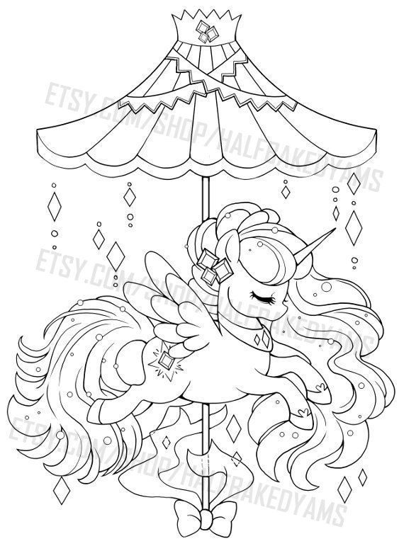 Himmlisches Karussell Aurora Alicorn Offene Lineart Digitalen Stempel Unicorn Coloring Pages Cute Coloring Pages Coloring Books