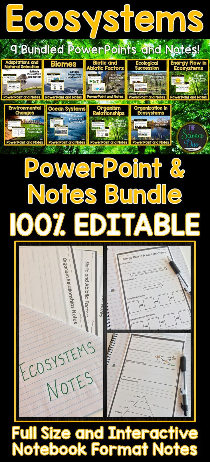 Ecosystems Powerpoint And Notes Bundle Ecosystems Teaching Middle School Science Life Science Activities