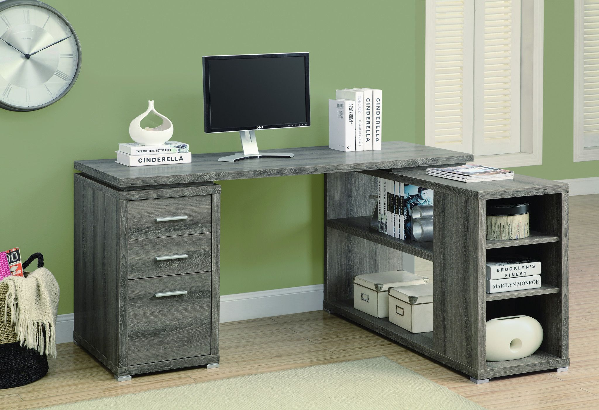 modern l shaped desk with file drawer open shelving in dark taupe finish in 2019 art room. Black Bedroom Furniture Sets. Home Design Ideas