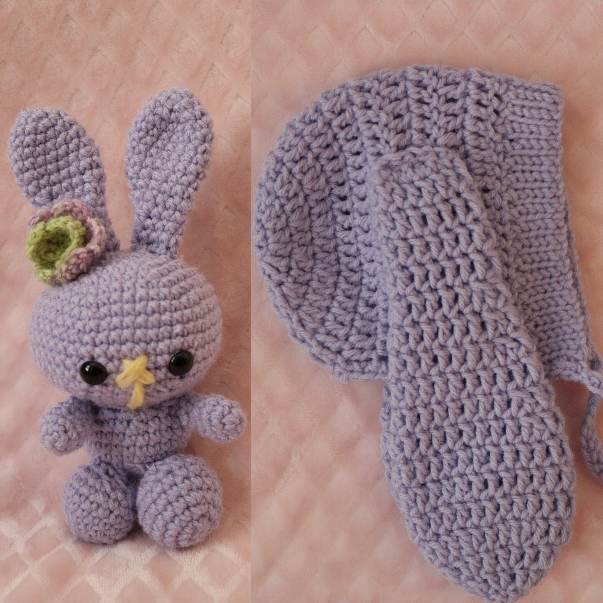 Crochet Bunny Plush and Baby Hat Set, Bunny Amigurumi, Bunny Plush, Crochet Toy, Baby Hat, Baby Bunny Hat, Hat and Plush Set, Newborn Photo #bunnyplush