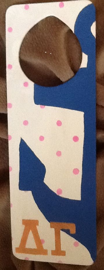 Delta Gamma Door Hanger.  Used the stencils from DIYGreek.com for the Polka Dots and the letters.  Everything you need is in the Supply Sack.  DG