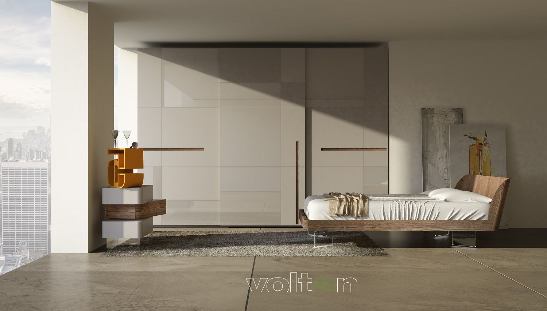 Camera da letto moderna grigia: armadio Prestige 3 ante ...