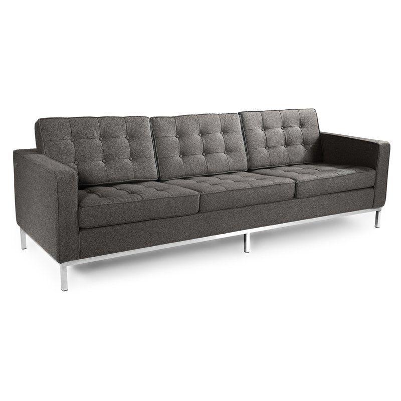 Kardiel Florence Knoll Fabric 3 Seater Sofa Cadet Gray Fkl3