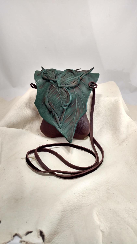 5338b7e68b Small Leather Leaf Forest Purse   Chocolate Brown Hip Bag   Woodland Elf  Faerie Fairy Renaissance