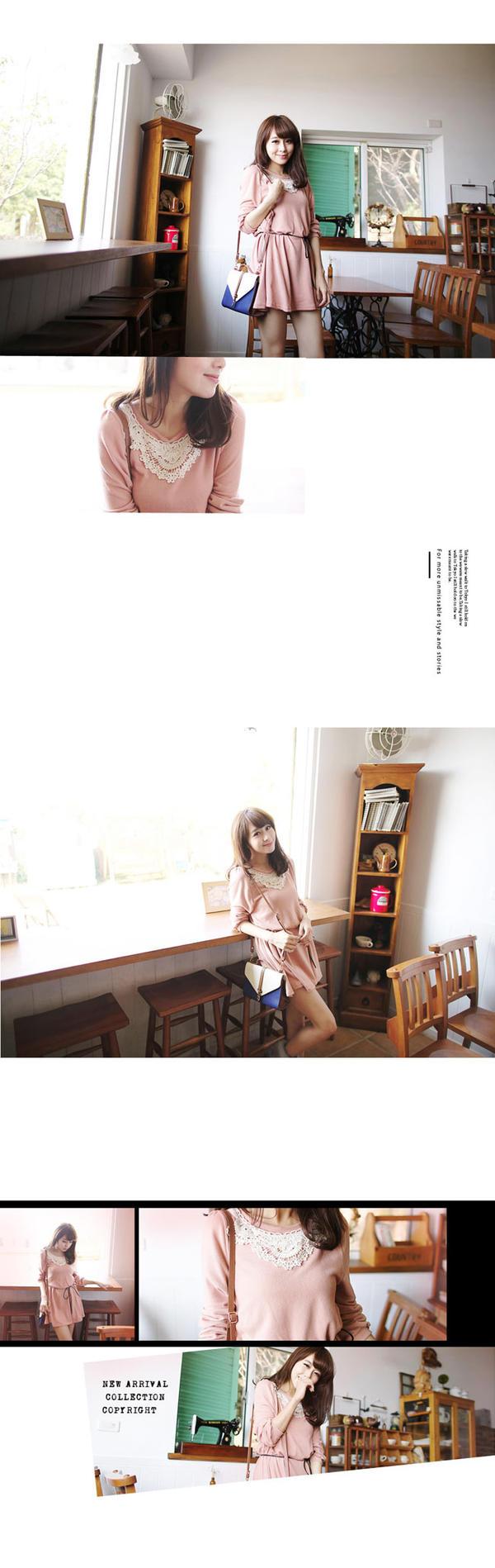 Crochet-Collar A-Line Dress - Tokyo Fashion | YESSTYLE