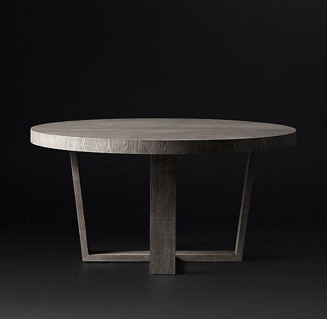 Rh S Antoccino Round Dining Table Striking In Its Angularity Our Collection Celebrates The Beauty White Oakgrey