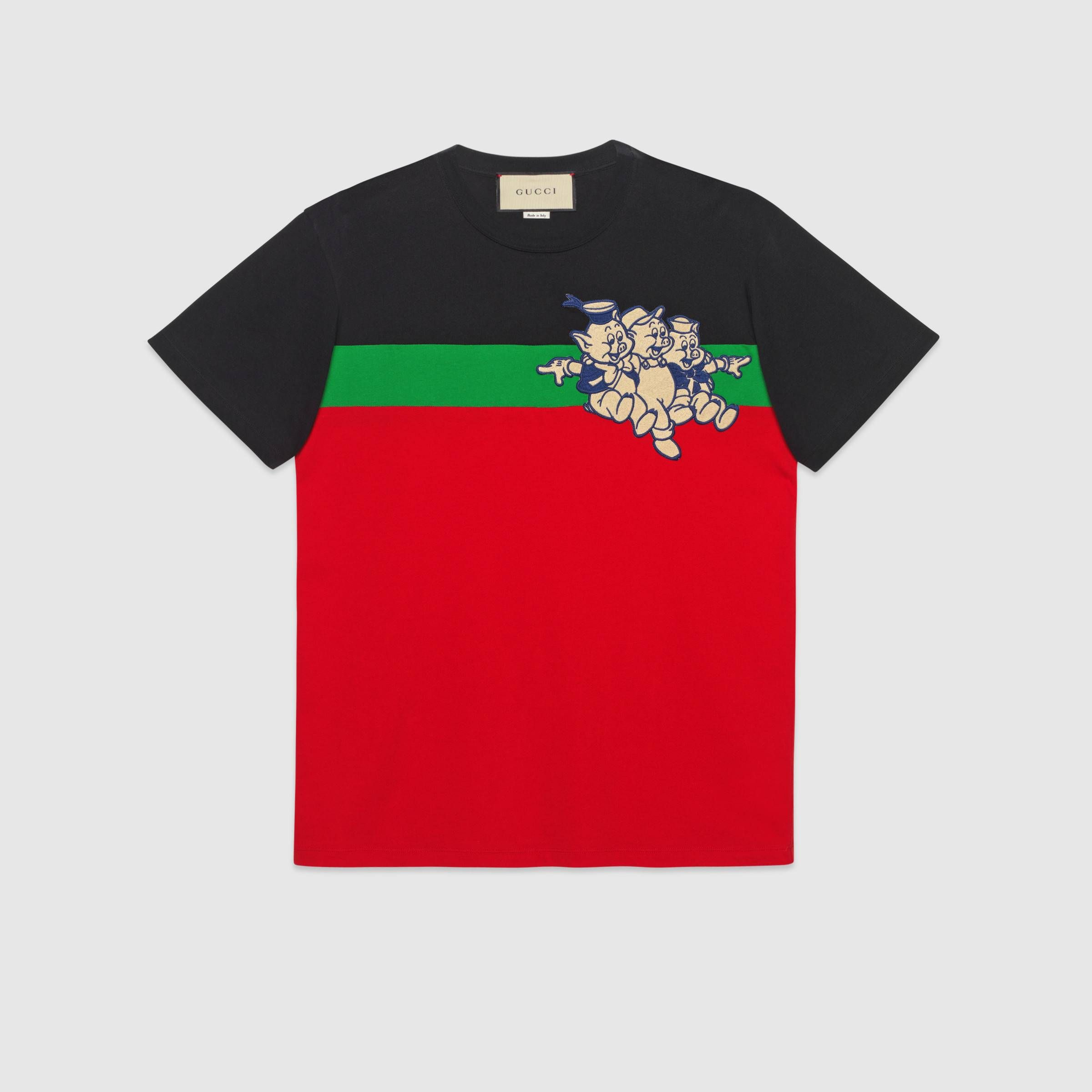 a2503ea4 Men's oversize t-shirt with Three Little Pigs in Red and black cotton  jersey | Gucci Men's T-shirts
