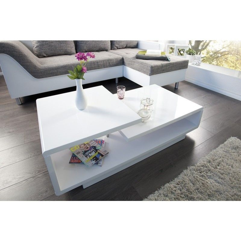 Verona Extendable High Gloss Coffee Table In White 21025: Salontafel Concept 100cm Hoogglans Wit- 37430